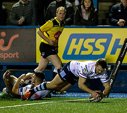 Garyn Smith of Cardiff Blues scores his sides fifth try<br /> <br /> Photographer Simon King/Replay Images<br /> <br /> Guinness PRO14 Round 15 - Cardiff Blues v Glasgow Warriors - Saturday 16th February 2019 - Cardiff Arms Park - Cardiff<br /> <br /> World Copyright © Replay Images . All rights reserved. info@replayimages.co.uk - http://replayimages.co.uk