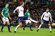 Tottenham Hotspur forward Harry Kane (10) scores a goal (score 1-1) during the Premier League match between Tottenham Hotspur and West Bromwich Albion at Wembley Stadium, London, England on 25 November 2017. Photo by Andy Walter.