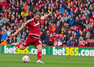 Adam Clayton (Middlesbrough FC) shoots wide during the Sky Bet Championship match between Middlesbrough and Milton Keynes Dons at the Riverside Stadium, Middlesbrough, England on 12 September 2015. Photo by George Ledger.