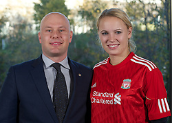 LIVERPOOL, ENGLAND - Sunday, November 7, 2010: Women's World No.1 tennis player Caroline Wozniacki with Claus Christensen of Hilton Liverpool. Caroline is in Liverpool to watch the Liverpool FC take on Chelsea. Caroline is a two-time champion of the Liverpool International Tennis Tournament. For more information visit www.liverpooltennis.co.uk (Pic by: David Rawcliffe/Propaganda)