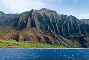 The Na Pali Coast on the north shore of Kauai, Hawaii
