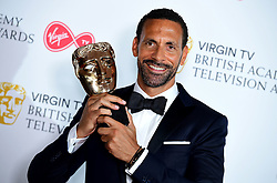 Rio Ferdinand with the single Documentary award in the press room at the Virgin TV British Academy Television Awards 2018 held at the Royal Festival Hall, Southbank Centre, London.