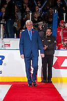 KELOWNA, CANADA - NOVEMBER 9: Bruce Hamilton walks the red carpet to centre ice on November 9, 2015 during game 1 of the Canada Russia Super Series at Prospera Place in Kelowna, British Columbia, Canada.  (Photo by Marissa Baecker/Western Hockey League)  *** Local Caption *** Bruce Hamilton;