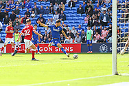 GOAL 1-1 Cardiff City forward Kieffer More (10) scoring his side's equalising goal during the EFL Sky Bet Championship match between Cardiff City and Bristol City at the Cardiff City Stadium, Cardiff, Wales on 28 August 2021.