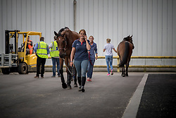 Flight to Rio of the Olympic horses<br /> Departure of the horses to the Rio Olympics from Liege Airport - Liege 2016<br /> © Hippo Foto - Dirk Caremans<br /> 29/07/16