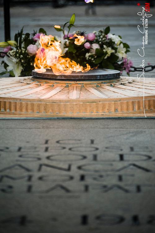 Célébration du 14 juillet, fête nationale française, mettant à l'honneur en 2014 le centenaire de la première guerre mondiale. Préparatifs du défilé militaire sur les Champs Elysées devant le président de la République.<br /> 14 juillet 2014, Paris (75)