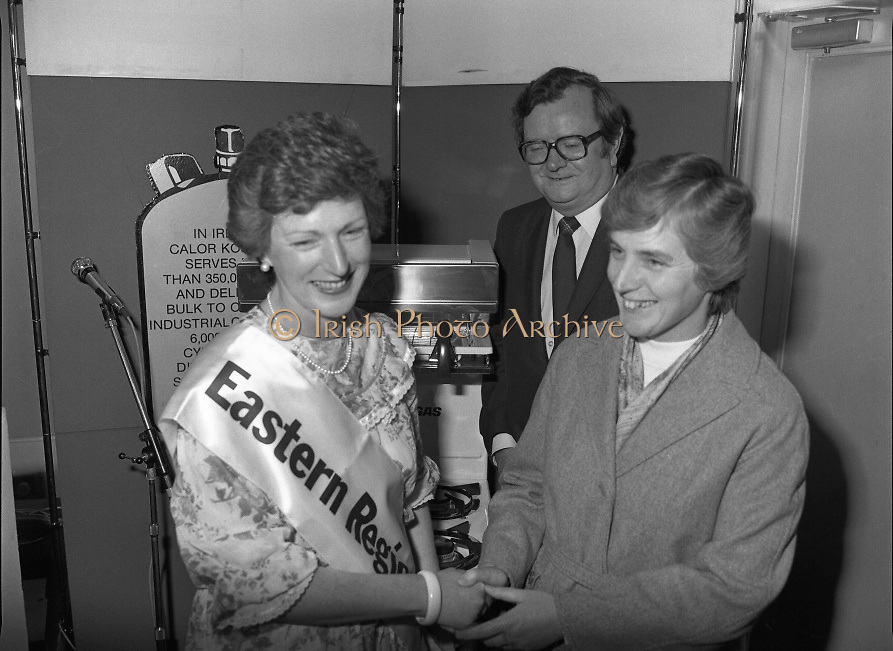 """Calor Kosangas Housewife of the Year - Dublin Regional Final.26/10/1982  26.10.1982..""""Calor Kosangas Housewife Of The Year 1982"""". Dublin Regional Final..The final was held in the Gresham Hotel,O'Connell St,Dublin. The winner was Mrs.,Deirdre Ryan,Derrypatrick,Drumree,Co Meath..Liz Boyhan,Home Economics advisor,Calor Kosangas presents Mrs Ryan with her prize,a new cooker,Mr Michael Higgins is also present..Mrs Deirdre Ryan winner of the Housewife of the Year regional is congratulated on her win by another contestant and by Mr Val Gunning,Director Calor Kosangas."""