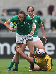Ireland's Hannah Tyrell and Australia's Shami Williams during the 2017 Women's World Cup, 5th Place Semi Final match at the Kingspan Stadium, Belfast.