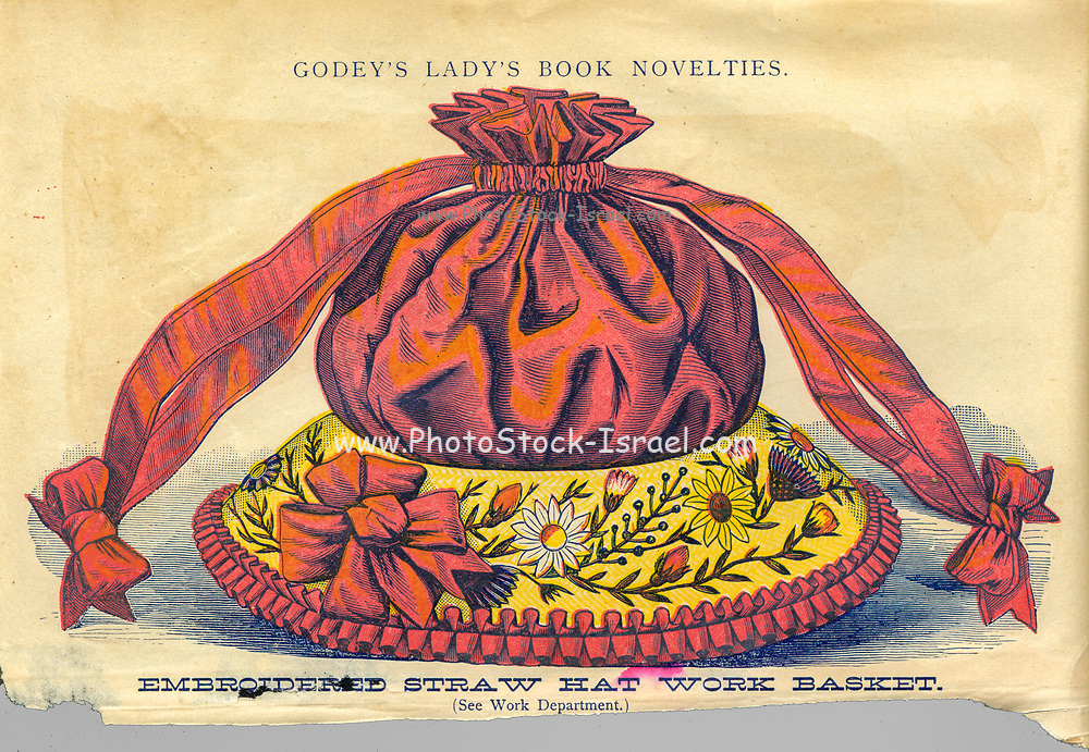 Embroidered straw hat work basketFrom Godey's Lady's Book and Magazine, Vol 101 July to December 1880 published in Philadelphia
