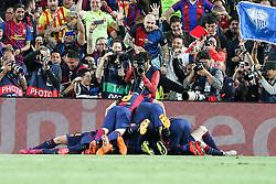 06.05.2015, Camp Nou, Barcelona, ESP, UEFA CL, FC Barcelona vs FC Bayern Muenchen, Halbfinale, Hinspiel, im Bild die Mannschaft freut sich ueber das Tor von Lionel Messi #10 (FC Barcelona) zum 2:0 // during the UEFA Champions League semi finals 1st Leg match between FC Barcelona and FC Bayern Munich at the Camp Nou in Barcelona, Spain on 2015/05/06. EXPA Pictures © 2015, PhotoCredit: EXPA/ Eibner-Pressefoto/ Kolbert<br /> <br /> *****ATTENTION - OUT of GER*****