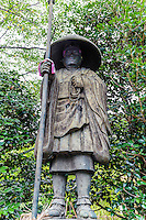"""Kobo Daishi Sculptures at Naritasan Shinshoji - one of the most important Buddhist temples in the Tokyo area, and the Head of the Chisan Shingon Buddhism sect.  Kukai, also known posthumously as Kobo Daishi was a Japanese monk, scholar, poet, and artist, founder of the Shingon or """"True Word"""" school of Buddhism. The meaning of the name Kobo Daishi recognizes his excellence as a teacher as well as his work to spread Esoteric Buddhism throughout Japan."""