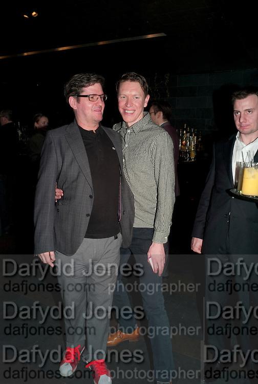 Stuart McQuarrie; Sam Spruell. Clybourne Park Press night. Opened at Wyndham's Theatre. Party afterwards at Mint Leaf, Haymarket, London. 8 February 2011.  -DO NOT ARCHIVE-© Copyright Photograph by Dafydd Jones. 248 Clapham Rd. London SW9 0PZ. Tel 0207 820 0771. www.dafjones.com.