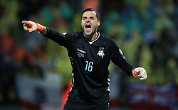 Lithuania goalkeeper Ernestas Setkus during the 2018 FIFA World Cup Qualifying Group F match at the LFF Stadium, Vilnius