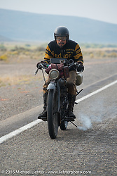 Shinya Kimura riding his Team 80 1915 Indian Twin during Stage 13 (257 miles) of the Motorcycle Cannonball Cross-Country Endurance Run, which on this day ran from Elko, NV to Meridian, Idaho, USA. Thursday, September 18, 2014.  Photography ©2014 Michael Lichter.