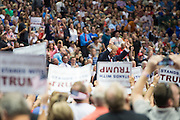 Republican presidential candidate Donald Trump speaks during a rally at the American Airlines Center in Dallas, Texas on September 14, 2015. (Cooper Neill for The New York Times)