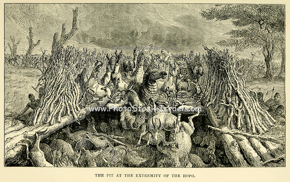 The Pit at the extremity of the Hopo From the book ' Missionary travels and researches in South Africa ' by Livingstone, David, 1813-1873; Arnot, Fred. S. (Frederick Stanley), 1858-1914; Published in London by J. Murray in 1899