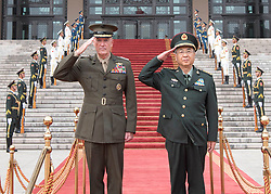 Marine Corps Gen. Joseph F. Dunford Jr., chairman of the Joint Chiefs of Staff, participates in a welcome ceremony with his Chinese counterpart Gen. Fang Fenghui at the Ba Yi, Aug. 15, 2017. (DOD photo by U.S. Navy Petty Officer 1st Class Dominique A. Pineiro)