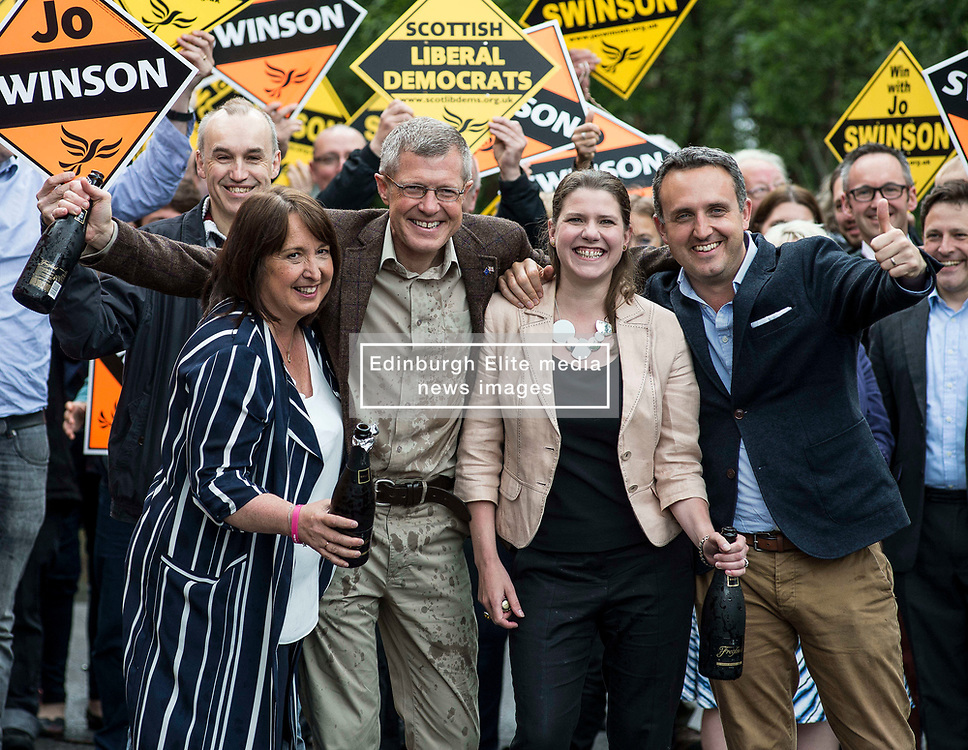 Scottish Lib Dem leader Willie Rennie celebrates quadrupling the party's MP's at the general election with champagne, with new MP's Jo SWinson and Christine Jardine and campaign manager Alex Cole Hamilton.<br /> <br /> © Dave Johnston/ EEm