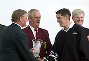 Kerry's Mark Murphy receives the trophy for the best amateur in the Murphy's Irish Open at Ballybunion..Picture by Don MacMonagle