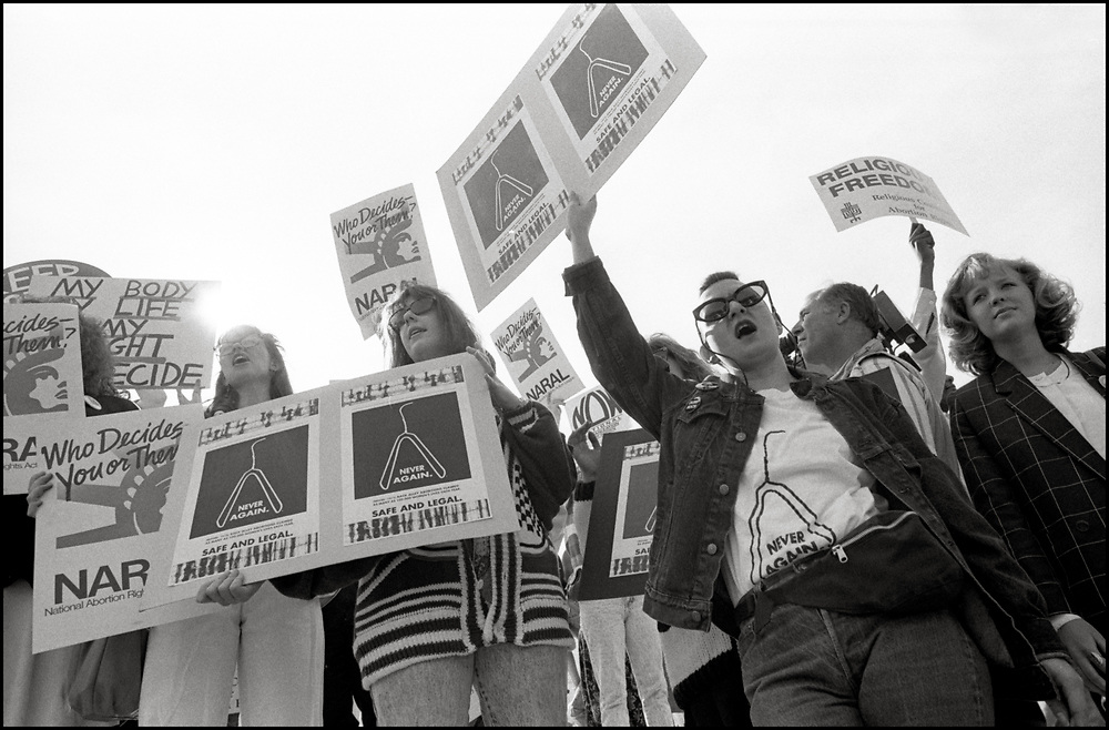 On April 26, 1989, abortion rights opponents, backed by the Bush Administration, urged the Supreme Court to overturn Roe v. Wade in Webster v. Reproductive Health Services. Pro-choice activists clashed with opponents outside the court, with more than two dozen demonstrators were arrested. <br /> <br /> In Webster v. Reproductive Health Services, the Court upheld several provisions of a Missouri law that regulated the performance of abortions.   The Court refused to invalidate the law's preamble stating that life begins at conception.