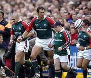 Leicester, England UK., 9th October 2004,  Zurich Premiership Rugby, Leicester Tigers vs Bath Rugby, Welford Road,<br /> [Mandatory Credit: Peter Spurrier/Intersport Images],<br /> <br /> <br /> <br /> <br /> <br /> Leicester, England UK., 9th October 2004,  Zurich Premiership Rugby, Leicester Tigers vs Bath Rugby, Welford Road,<br /> [Mandatory Credit: Peter Spurrier/Intersport Images],<br /> Leicester captain, Martin Johnson leads his team out and the the match day mascot