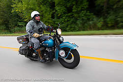 Chris Tribbey riding his 1947 Harley-Davidson WL Flathead in the Cross Country Chase motorcycle endurance run from Sault Sainte Marie, MI to Key West, FL (for vintage bikes from 1930-1948). Stage 3 from Milwaukee, WI to Urbana, IL. USA. Sunday, September 8, 2019. Photography ©2019 Michael Lichter.
