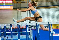 Anne van de Wiel in action on the 60 meter hurdles during AA Drink Dutch Athletics Championship Indoor on 21 February 2021 in Apeldoorn.