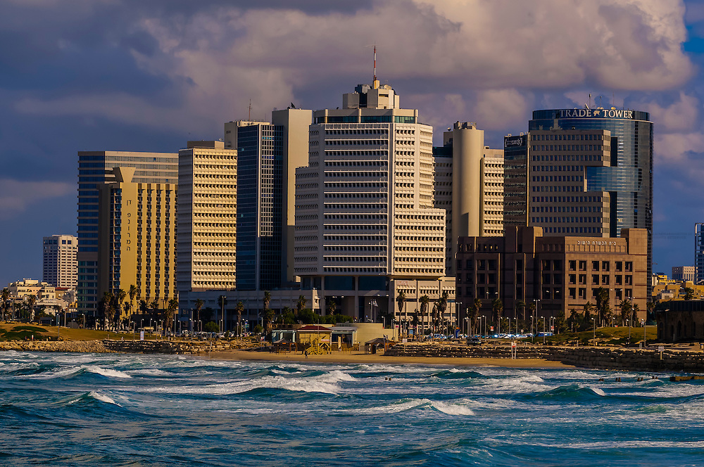 The Mediterranean Sea and the coastline of Tel Aviv, Israel.