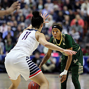 Shalethia Stringfield, USF, defended by Kia Nurse, UConn,  during the UConn Huskies Vs USF Bulls 2016 American Athletic Conference Championships Final. Mohegan Sun Arena, Uncasville, Connecticut, USA. 7th March 2016. Photo Tim Clayton