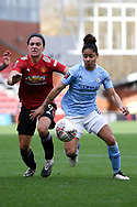 Manchester United forward Jess Sigsworth (9) and Manchester City defender Demi Stokes (3) battle for possession during the FA Women's Super League match between Manchester United Women and Manchester City Women at Leigh Sports Village, Leigh, United Kingdom on 14 November 2020.