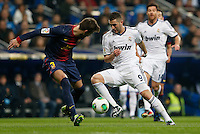 30.01.2013 SPAIN -  Copa del Rey 12/13 Matchday 1/4  match played between Real Madrid CF vs  F.C. Barcelona (1-1) at Santiago Bernabeu stadium. The picture show Karim Benzema (French Forward of Real Madrid)