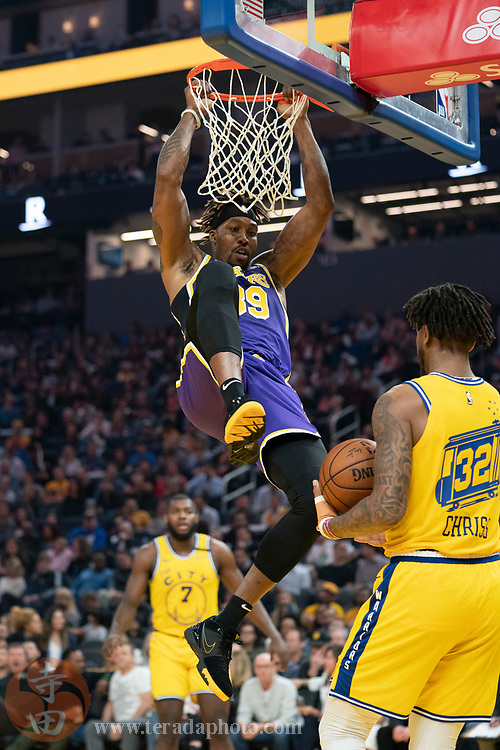 February 27, 2020; San Francisco, California, USA; Los Angeles Lakers center Dwight Howard (39) dunks the basketball during the second quarter against the Golden State Warriors at Chase Center.