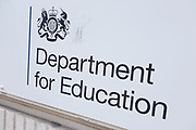 Department for Education on 4th september 2020 in London, England, United Kingdom. The Department for Education is responsible for education, children's services, higher and further education policy, apprenticeships and wider skills in England, and equalities.