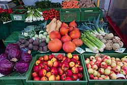 Detail of organic fruit and vegetables at weekend farmers market in Prenzlauer Berg in Berlin,, Germany