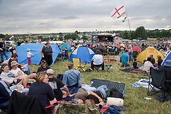 View of the main stage at the Cropredy Festival  Fairport's Cropredy Convention  2005; tents in the foreground,