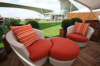 Celebrity Silhouette. Celebrity cruises' new ship launched in Hamburg 21st July 2011..Interior feature photos..Inside a Cabana on the Lawn..