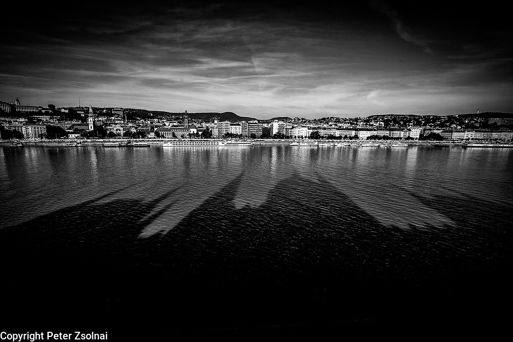 Shadows of the Houses of Parlament of in Budapest on the river Danube or may the Batman is watching.