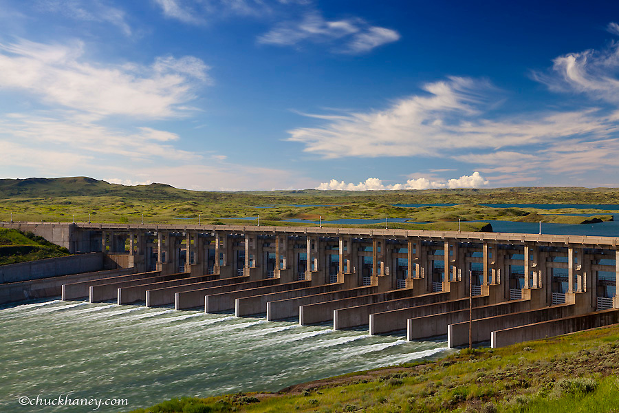 The spillway at Fort Peck Dam releases water into the Missouri River in Fort Peck, Montana, USA