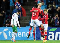 Fotball<br /> UEFA Euro 2016 Matchday 3<br /> Norge v Bulgaria / Norway v Bulgaria 2:1<br /> 13.10.2014<br /> Foto: Morten Olsen, Digitalsport<br /> <br /> Norway celebrating 2:1 <br /> <br /> Alexander Tettey (5) - Norwich / NOR<br /> Håvard Nielsen (18) - Eintracht Braunschweig / NOR<br /> <br /> Martin Ødegaard (9) - Strømsgodset / NOR<br /> who became the youngest ever player to participate in an EURO game 15 years 301 days