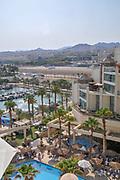 Israel, Eilat Beach, hotel strip. Hotels in the background