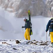 Thomas Roennau and Jim Schanzenbaker hike toward Powder 8 Face off of Cody Peak for the Powder 8 contest at Jackson Hole Mountain Resort.