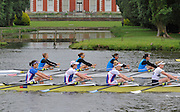 Henley, GREAT BRITAIN, 2012   Princess Grace Challenge Cup, W4X, Centro Nazionale di Canotaggio Piediluco, ITA (Bucks) and Munchener Ruderclub von 1880 EV, GER (Berks), race along the Henley Reach. Friday   09:18:20   29/06/2012  [Mandatory Credit, Intersport Images]. ...Rowing Courses, Henley Reach, Henley, ENGLAND . HRR