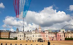 © Licensed to London News Pictures. 18/06/2020. London, UK. A fly past by the Royal Air Force (RAF) Red Arrows and the Patrouille de France (PAF), the aerobatics demonstration team of the French Air Force takes is watched by President Macron and Prime Minister Boris Johnson from Horse Guards Parade. Today's events commemorate the 80th anniversary of the Second World War resistance leader General Charles de Gaulle's historic broadcast to occupied France on June 18, 1940. Photo credit: Peter Macdiarmid/LNP