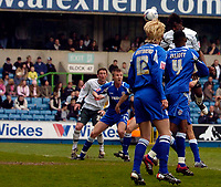 Photo: Alan Crowhurst.<br />Millwall v Plymouth Argyle. Coca Cola Championship. 15/04/2006. Vincent Pericard heads in the opener for Plymouth.