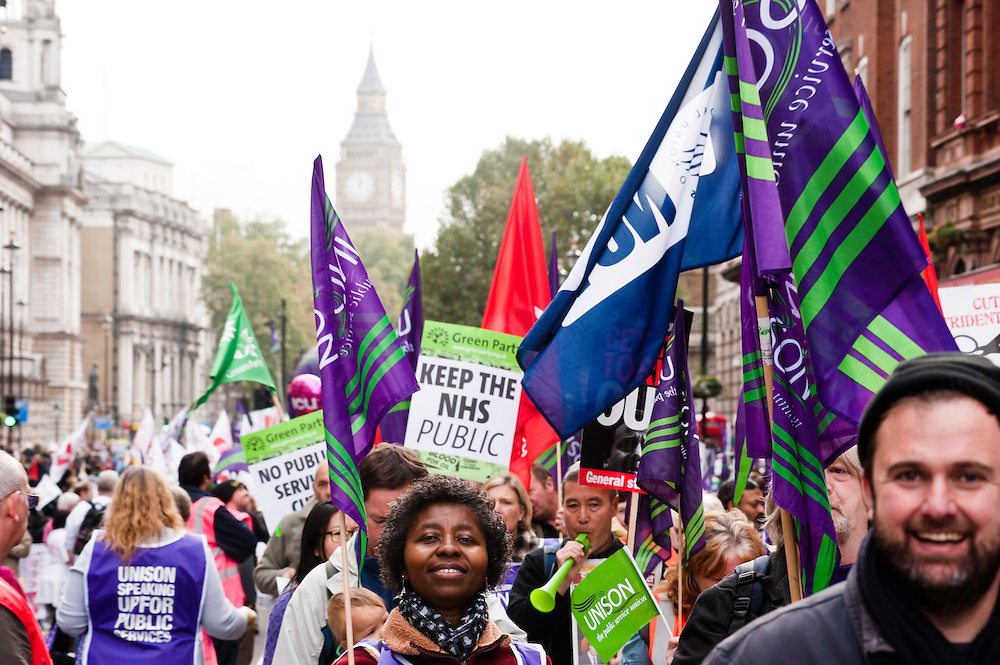 London, UK - 20 October 2012: thousands of protesters join the TUC-organised march 'A future that works' against austerity cuts in central London.