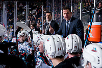 KELOWNA, BC - FEBRUARY 15: Kelowna Rockets assistant coach Vernon Fiddler and head coach Adam Foote stand on the bench against the Red Deer Rebels at Prospera Place on February 15, 2020 in Kelowna, Canada. (Photo by Marissa Baecker/Shoot the Breeze)