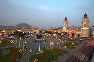 """view of the """"Plaza de Armas"""" in Lima Cathedral, and in the background the """"Cerro San Cristobal"""""""