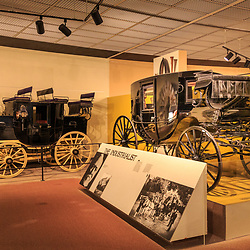 A horse-drawn carriages are on display at the Pennsylvania State Museum in Harrisburg.