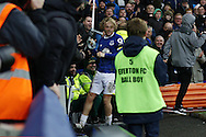 Tom Davies of Everton celebrates with the fans after scoring this teams 3rd goal. Premier league match, Everton v Manchester City at Goodison Park in Liverpool, Merseyside on Sunday 15th January 2017.<br /> pic by Chris Stading, Andrew Orchard sports photography.