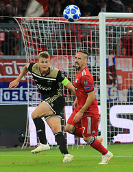02.10.2018, CL, Champions League, FC Bayern Muenchen vs Ajax Amsterdam, Allianz Arena  Muenchen, im Bild:...Matthijs de Ligt ( Ajax Amsterdam) vs Franck Ribery (FCB)..DFL REGULATIONS PROHIBIT ANY USE OF PHOTOGRAPHS AS IMAGE SEQUENCES AND / OR QUASI VIDEO...Copyright: Philippe Ruiz..Tel: 089 745 82 22.Handy: 0177 29 39 408.e-Mail: philippe_ruiz@gmx.de. (Credit Image: © Philippe Ruiz/Xinhua via ZUMA Wire)